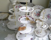 ETAGERE - 4 Tiers of Roses: Tea / Cupcake / Praline / Jewelry Stand - 1920s-70s Vintage German China - White - Wedding Shower / Tea Party