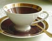 Masculine Chocolate Brown and Gold - TEACUP & SAUCER - 1960s Vintage - VEB Porzellanwerke Gehren - Thuringia, Eastern Germany