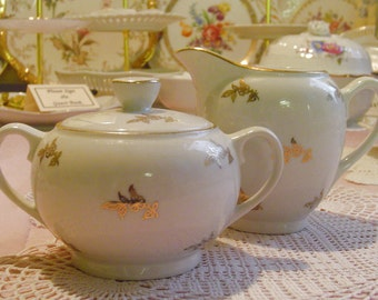 Golden Blossoms - SUGAR BOWL & CREAMER Set - 1940s Vintage German Porcelain - Gareis, Kuehnl Co. - Waldsassen, Bavaria, Germany