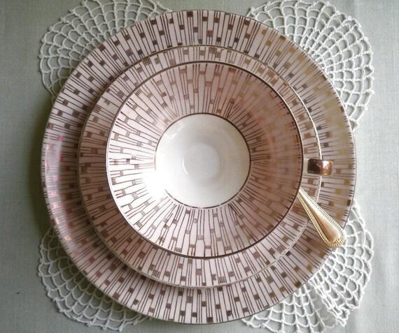 Pink Petticoat Trim - 1950s Vintage - TEACUP, SAUCER, PLATE - Alka Kunst - Alboth & Kaiser, Kronach, Bavaria, Germany