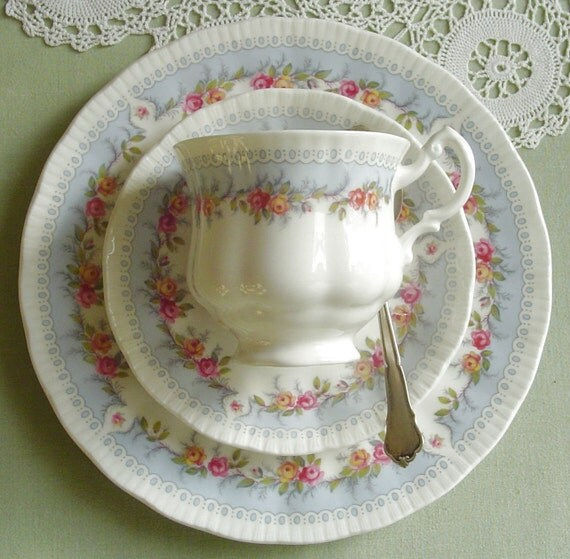 Bridesmaid by Paragon China  - Pink and Yellow Roses - 1970s Vintage - TEACUP, SAUCER & PLATE - Bone China - Longton, Staffordshire, England