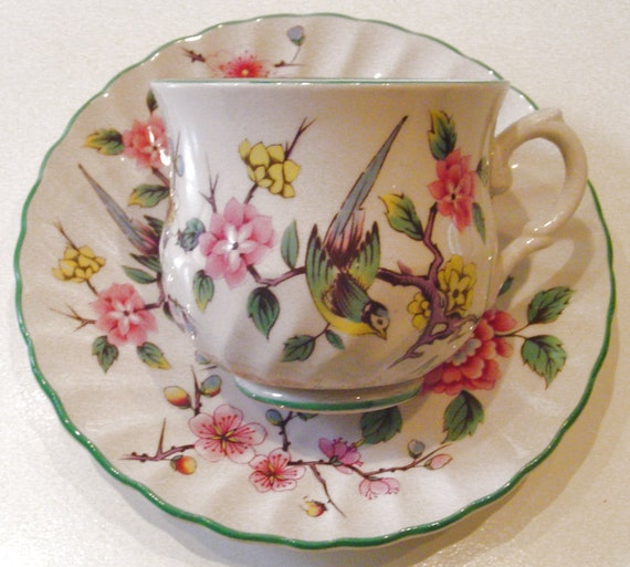 Chinese Rose - James Kent - Chintz - 1960s Vintage - TEACUP & SAUCER - Old Foley Pottery - Longton, Stoke-on-Trent, Staffordshire, England