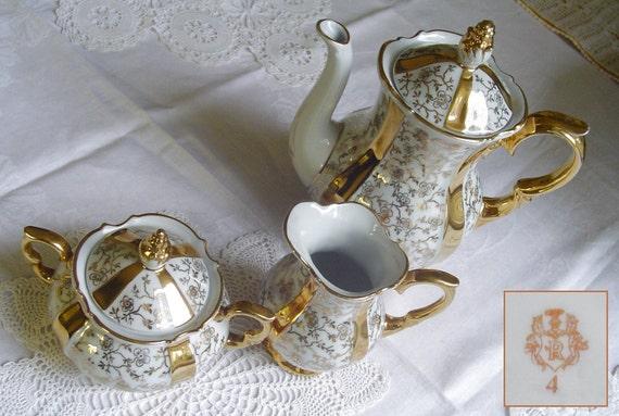 Golden Blossoms and Stripes - 1950s Vintage - DEMITASSE Teapot, SUGAR Bowl and CREAMER Set - Unger & Schilde, Roschuetz, Thuringia, Germany