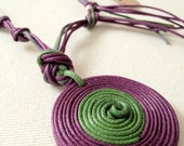 Purple necklace, green cotton cord and magnetic clasp.
