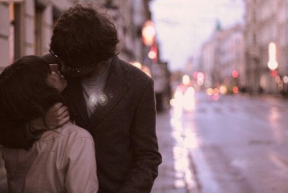 "Romantic Love Photography Print - ""Sweet kiss"" - 8x12 Fine Art Photo Print - Purple and Pink Wall Art Decor"