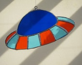 Free Shipping Etsy - UFO Stained Glass Sun Catcher Geek Fantasy Sci Fi Gift