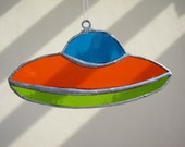 Flying UFO Unforgettable Gift Stained Glass Handmade Collectable