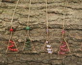 Wire-wrapped Christmas Tree Pendant -