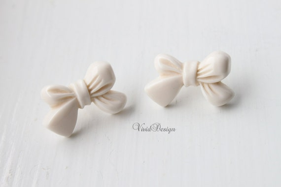 White Ribbon Bow Earrings, Spring 2012 Collection