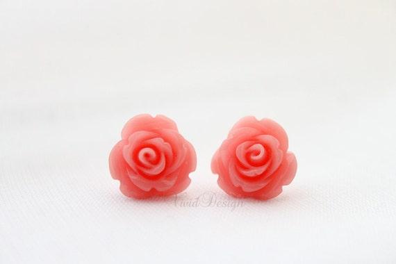 Pink Coral Rose Studs