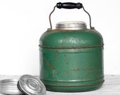 Rustic Green Thermos Jug with Handle