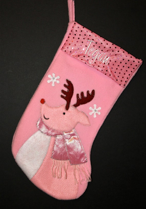 personalized girls pink christmas stocking 17
