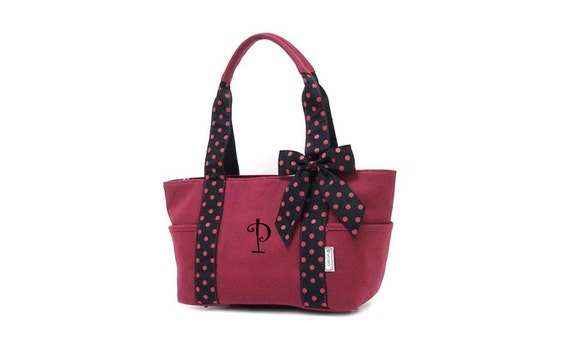 Maroon/ Burgandy Canvas Monogrammable Tote w/ Polkadot Ribbon Trim Personalized