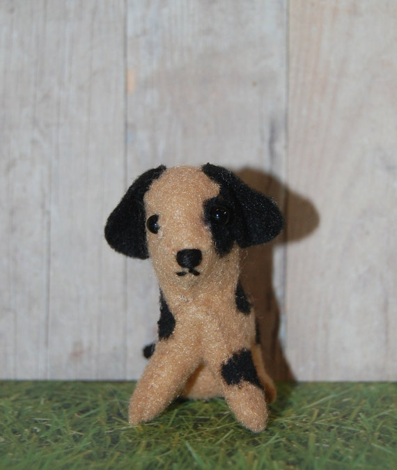 Tiny Felt Brown Spotted Dog