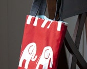 Elephant Mini Button Tote Bag, Red and Denim *SALE*