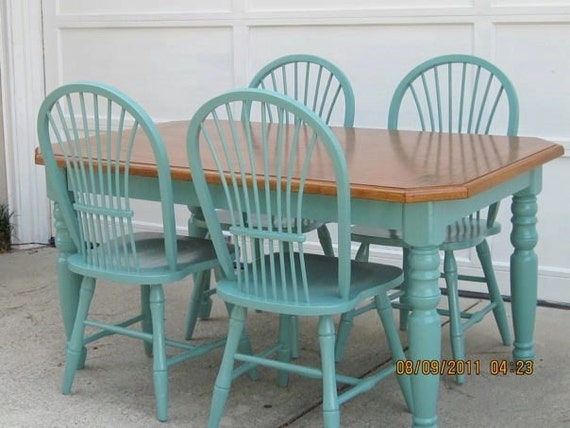 Teal painted furniture images for Teal dining room table