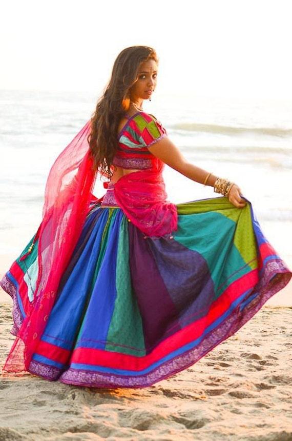 Indian Panel Skirt - Dancing Peacock