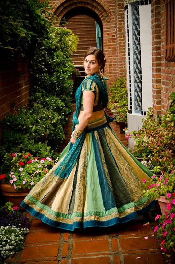 Indian Peacock  Velvet Gopi skirt Outfit