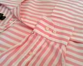Classy Jos A Bank Travelers Collection Pink Striped Button-up Shirt L