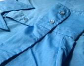 Vintage 70's Button-up Shirt With A Butterfly Collar In Boss Blue by Towncraft M