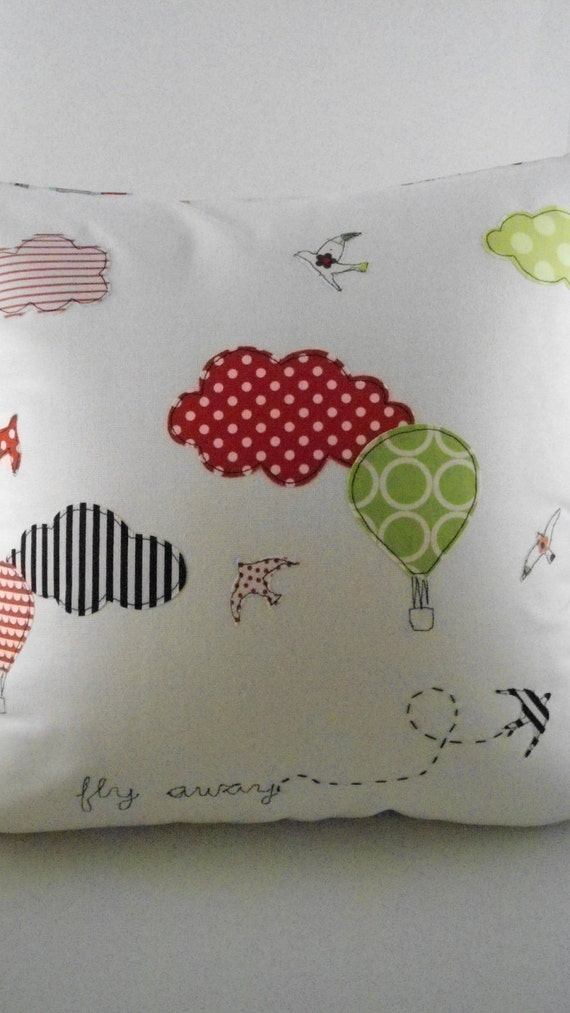 Fly away Decorative Pillow Cover,Off white/Hot Air Balloon/birds cushion cover/ Nursery decor/shower gift idea-Made to order