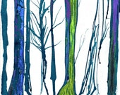Forest of Creation Art Print - Enchanted Forest - Lime green - Teal - 8 x 10