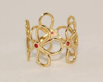 Blooming spring butterfly 14k Gold Ring - made in Israel