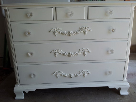 Shabby Chic Dresser with Flower Glass Knobs