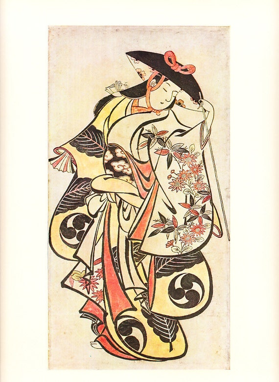 Pair of 1958 vintage art prints of 18th century Japanese colored woodcuts of dancer and actor - frame them or use in a project