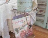 vintage    metal table magazine book rack cottage chic prairie