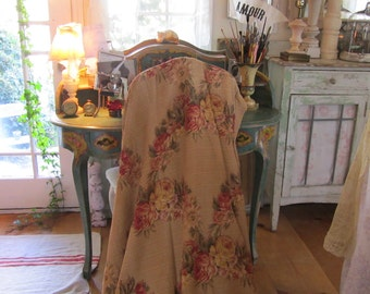 Beautiful Barkcloth with roses curtain panel shabby chic prairie romantic cottage