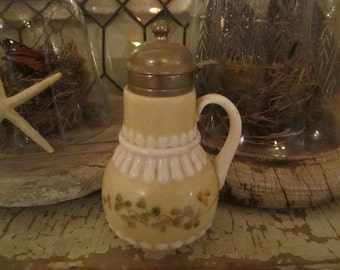 Vintage  French porcelain and pewter syrup jar