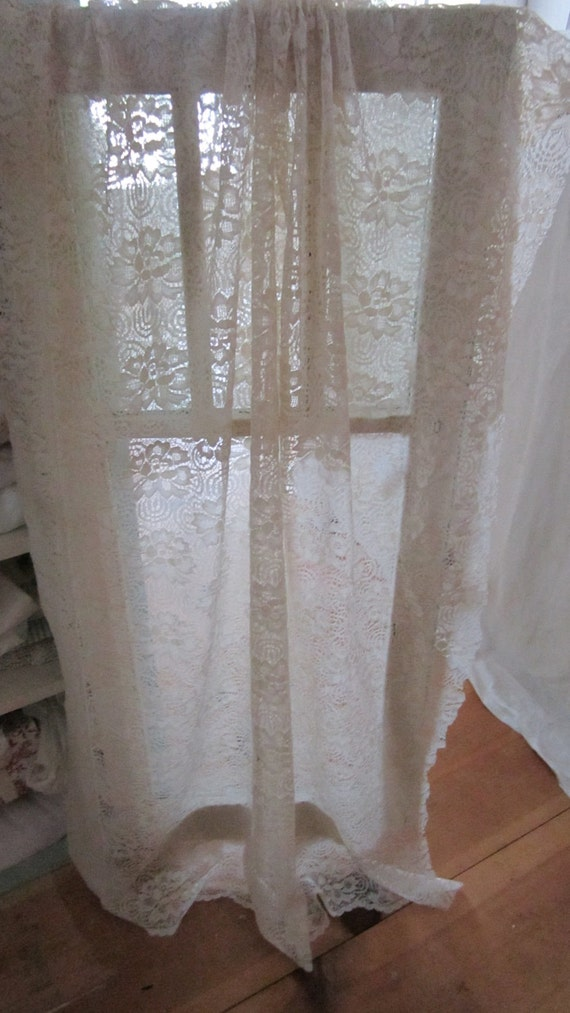 vintage lace curtain panel roses