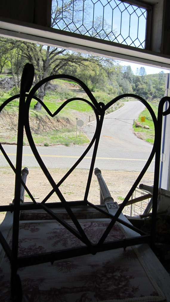 Vintage Heart Metal Wood Holder Fireplace By