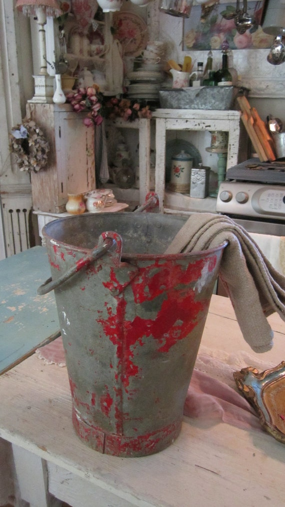 Vintage chippy painted red and silver heavy metal English bucket shabby chic cottage chic