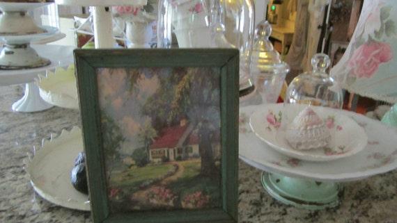Vintage cottage scene print shabby chic aqua fram cottage chic prairie
