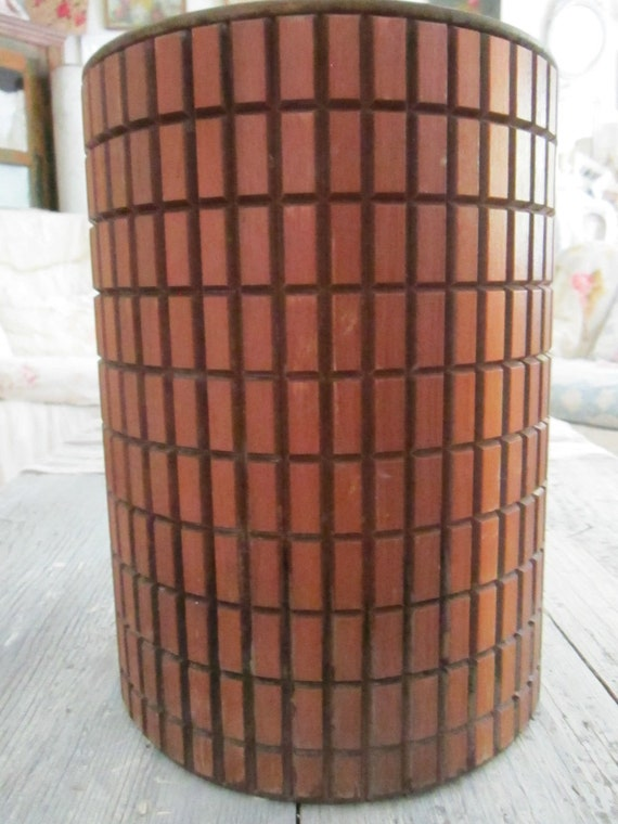 Vintage wood metal lined trash can modern shabby chic minimalist