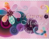 Happy Mother's Day Card Printable Digital DIY-  Fun Sweet Pretty Cute Swirl Purplish Pink -  PDF or JPEG Card
