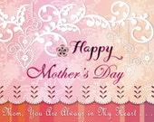 Happy Mother's Day Card Printable Digital-  Elegant Pretty Purplish Pink - Always In My Heart -  PDF or JPEG Card