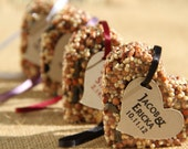 30 medium Bird Seed favors - hearts, personalized, eco friendly, birdseed wedding favor, love birds, wedding favors