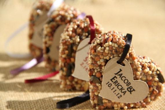150 medium Bird Seed favors - hearts, personalized, eco friendly, birdseed wedding favor, love birds, wedding favors