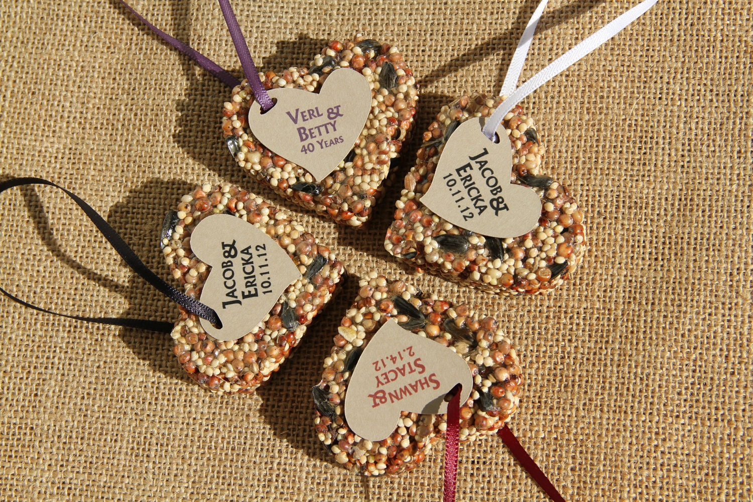 SAMPLE medium Bird Seed favors hearts personalized eco