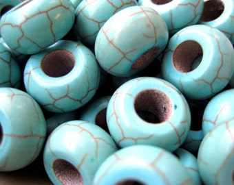 20 Pcs Imitation Turquoise Beads -13mm in diameter, 7mm thick, hole: 6mm