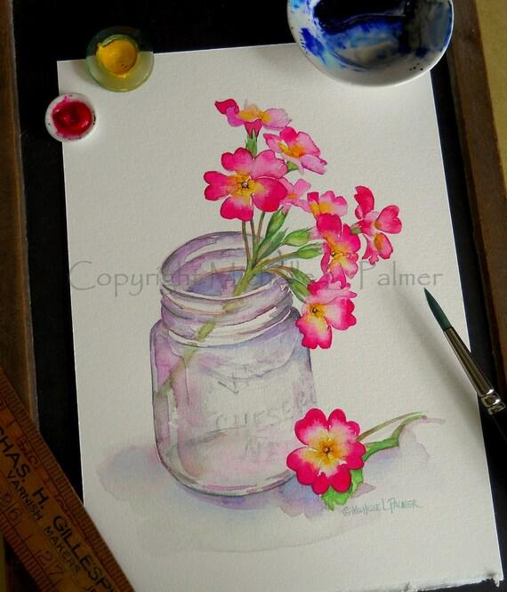 Heirloom Primrose Flower in Vintage Vaseline Jar Original Watercolor Painting by Michelle L. Palmer