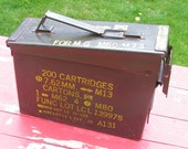 60s Army Issue Metal Ammo Box for repurpose Time Capsule or Air Tight Need Supply Case
