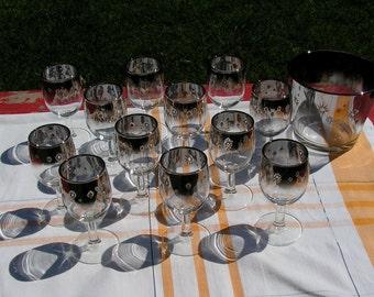 SALE Mid Century 50s Silver Mercury Ice Bucket and 12 liquor Glasses
