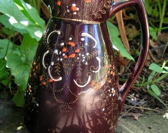 40s Red Clay Pottery Syrup Pitcher Brown Glaze Hand Painted