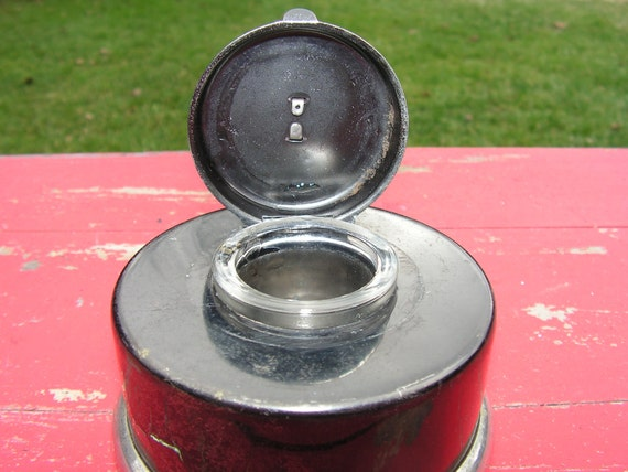Art Deco Period Chrome and Black Enamel Deck Ink Well 1920s
