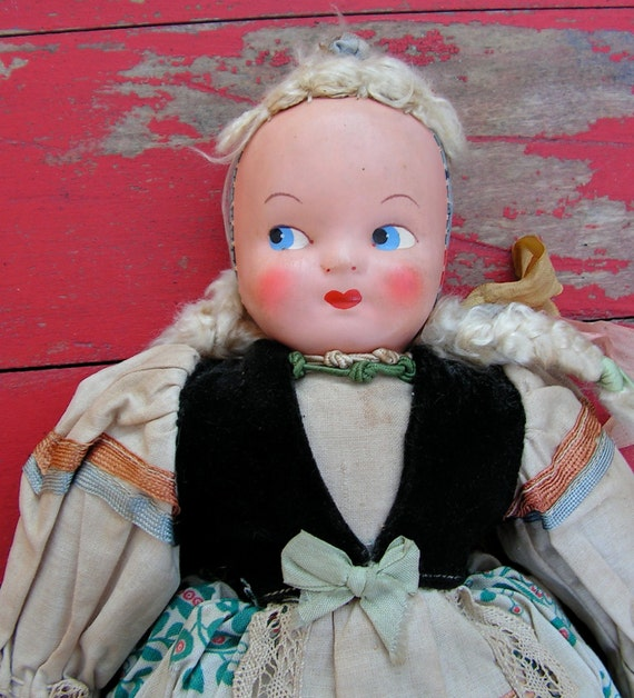 """1930s 1920s Moveable Folk Doll from Poland sawdust filled 15"""" tall"""