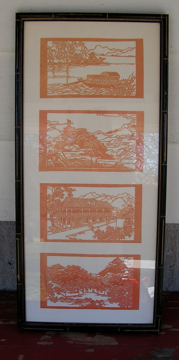 1950s Four Panel Kirie Paper Art Framed Vintage Hanging